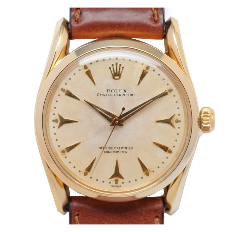 ROLEX Yellow Gold Oyster Perpetual Bombé Wristwatch circa 1960