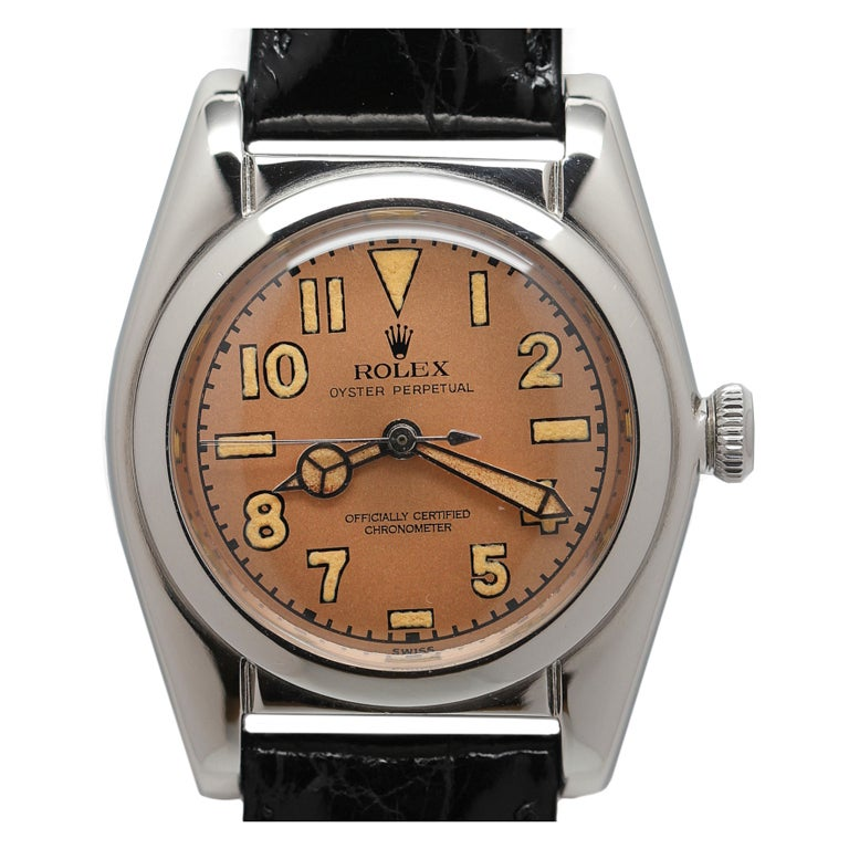 ROLEX Stainless Steel Bubbleback Wristwatch Ref 2940 circa 1946