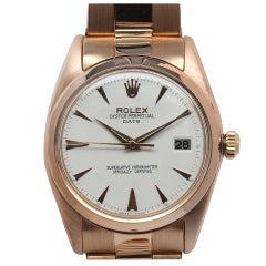 ROLEX Pink Gold Oyster Perpetual Date Wristwatch Ref 1503 circa 1962