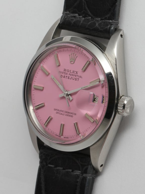 ROLEX Stainless Steel Datejust with Custom Pink Dial circa 1971 2