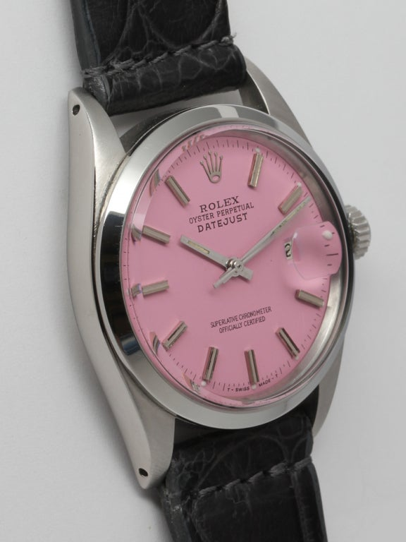ROLEX Stainless Steel Datejust with Custom Pink Dial circa 1971 3