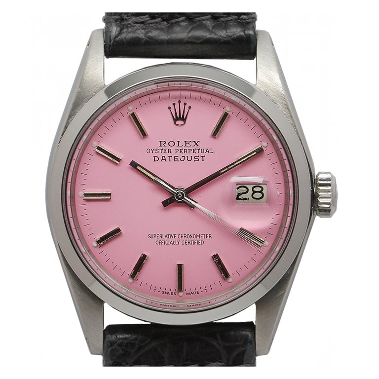 ROLEX Stainless Steel Datejust with Custom Pink Dial circa 1971 1