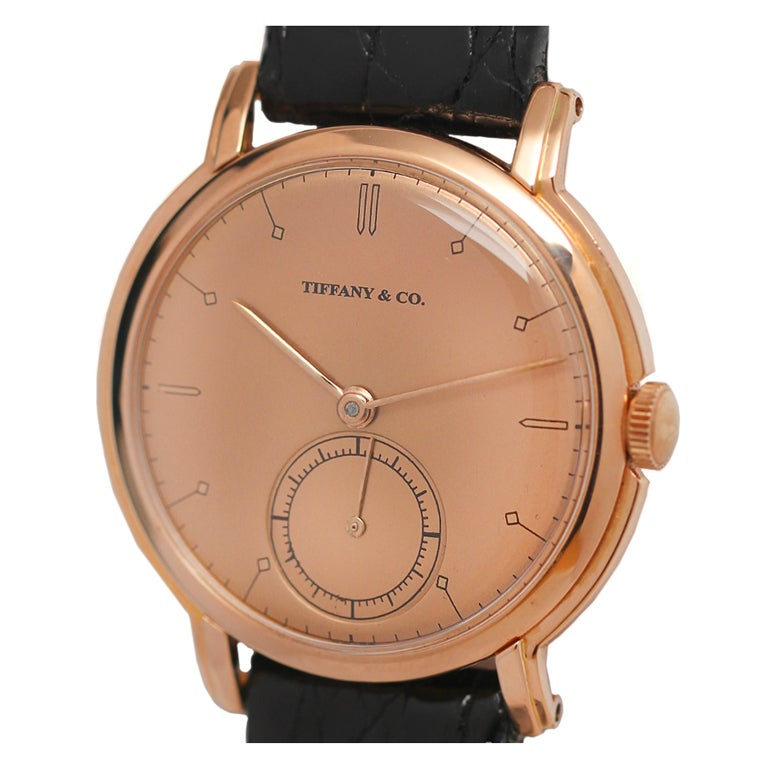 Tiffany And Co Rose Gold Circular Wristwatch Circa 1940s