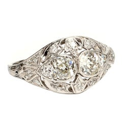 Vintage Edwardian Platinum 1.00 Carat Diamond Ring Cocktail Right Hand Ring