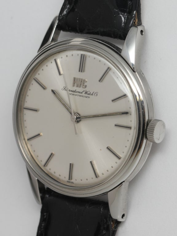 IWC Stainless Steel Dress Wristwatch circa 1970s 2