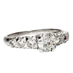 1940s Platinum and Old European Cut Diamond Engagement Ring 0.72 Carat G-SI2