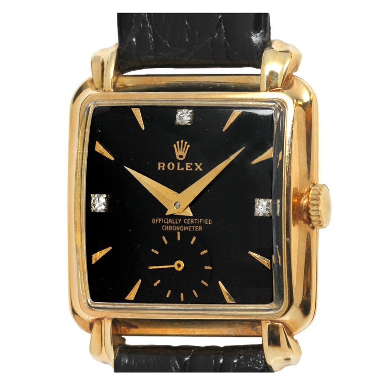 Rolex Yellow Gold Square Wristwatch Circa 1950s At 1stdibs