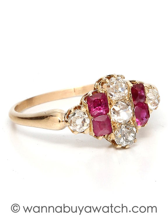 Wonderful 18K yellow gold, diamond and ruby ring. Alternating Old Mine Cut diamonds and French cut rubies set in vertical rows. Approximately diamond 0.65 total carat weight, rubies approximately 0.40 carat. Nicely made numbered setting. Circa