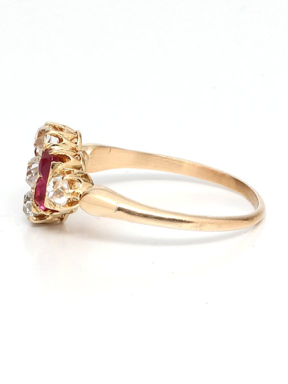 Women's 1900s Ruby, Old Mine Cut Diamond and Gold Ring For Sale