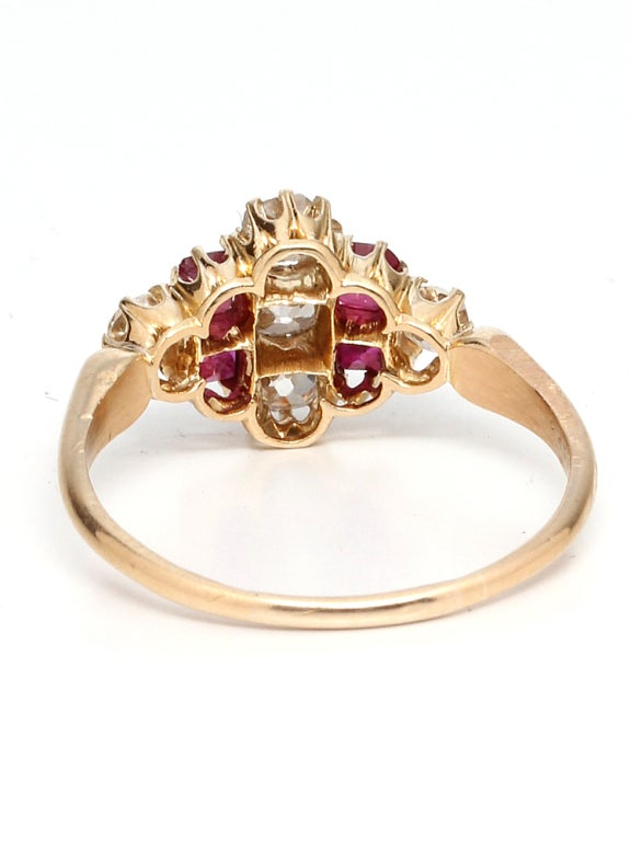1900s Ruby, Old Mine Cut Diamond and Gold Ring For Sale 1