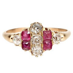 1900s Ruby, Old Mine Cut Diamond and Gold Ring