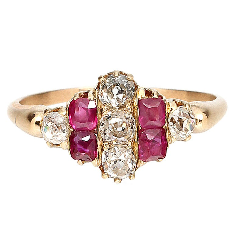 1900s Ruby, Old Mine Cut Diamond and Gold Ring For Sale