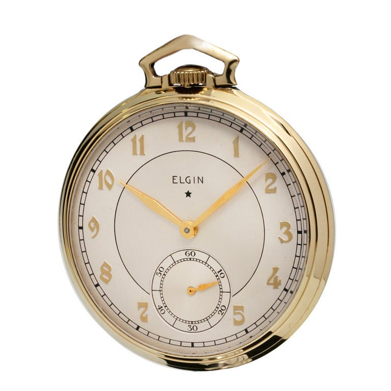 Elgin Yellow Gilt Pocket Watch with Chain and Knife, circa 1938