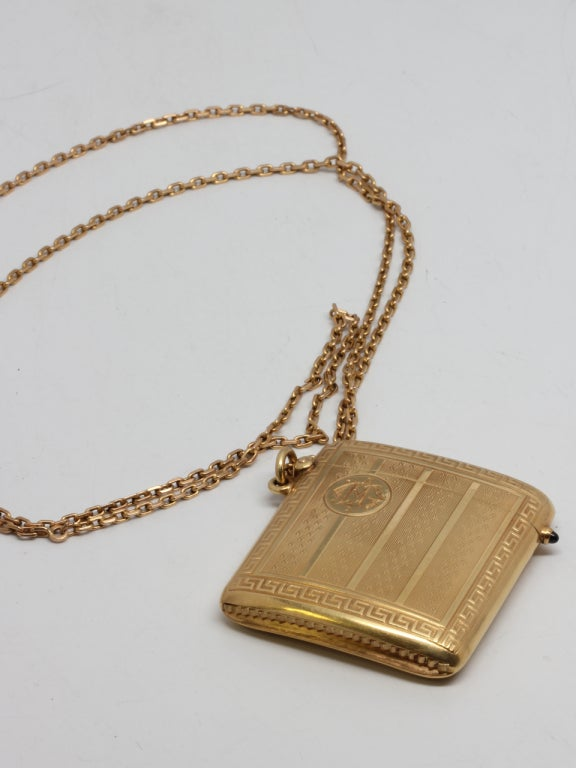 Women's Art Deco Yellow Gold Match Safe Locket Necklace, circa 1910-20's For Sale