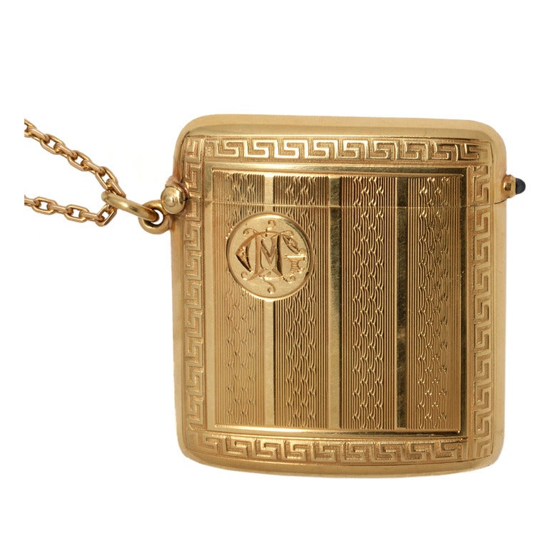Art Deco Yellow Gold Match Safe Locket Necklace, circa 1910-20's For Sale
