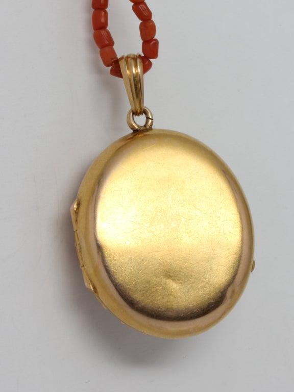Women's Coral Pearl Gold Victorian Locket For Sale