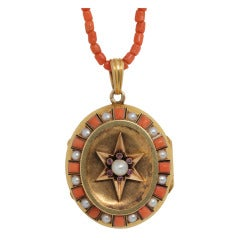 Coral Pearl Gold Victorian Locket