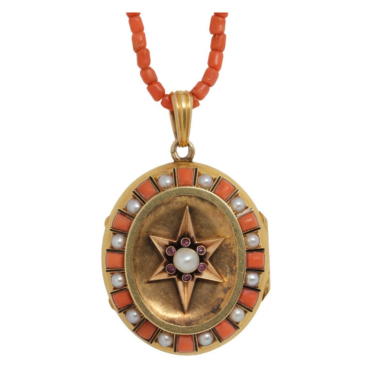 Coral Pearl Gold Victorian Locket For Sale