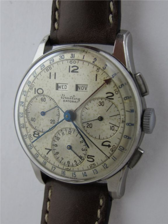 Breitling Datora man's chronograph triple-date c. 1960..35mm stainless steel case with silvered dial and flat pushers.  Valjoux 22 manual-wind movement just serviced and running beautifully.