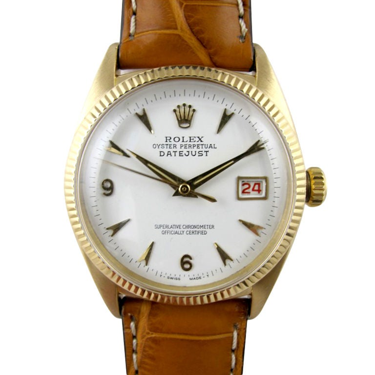 Rolex 18K Oyster Perpetual Datejust ref 6305 circa 1957 at ...
