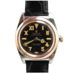 Rolex Steel/Pink Gold Bubbleback ref #3133 circa 1940's
