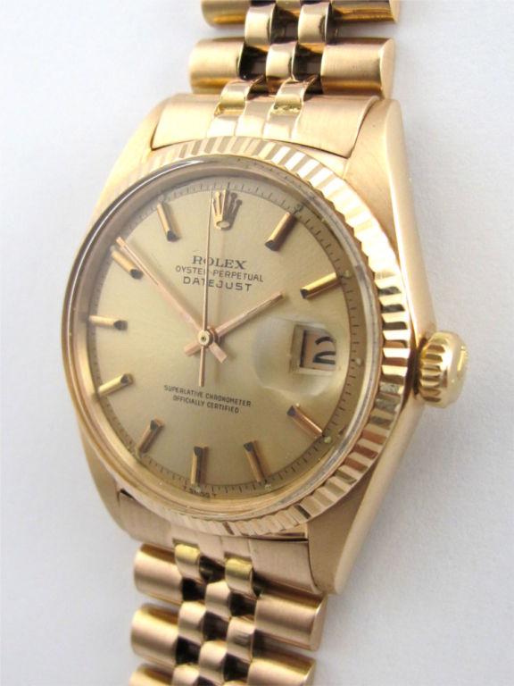 Women's or Men's Rolex 18K Pink Gold Datejust ref 1601 circa 1962 For Sale