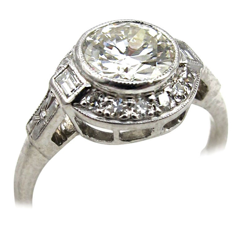 Vintage Engagement Ring Platinum 1.12ct Old European Cut H ...