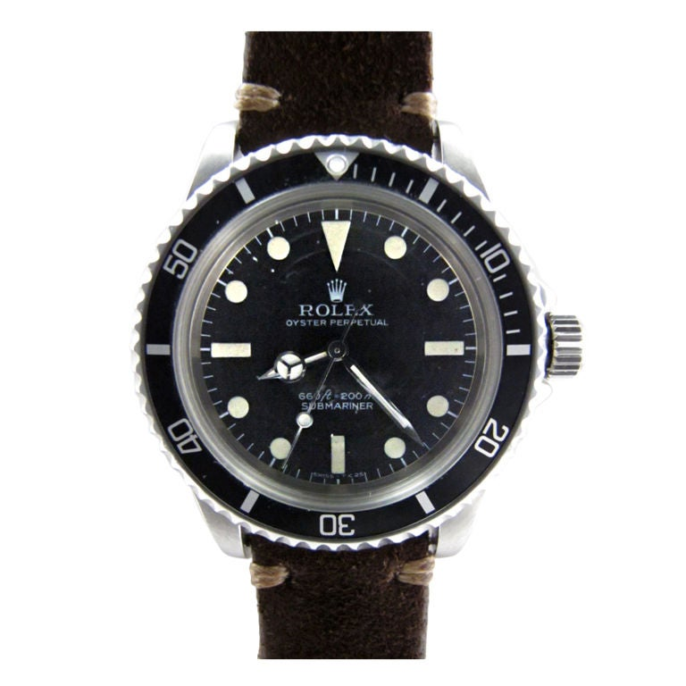 "Rolex SS Submariner ref # 5513 circa 1977 so called ""maxi"" dial"