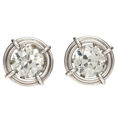 Custom-Made 2.81 Carat Old European Cut Diamond Platinum Earrings K-VS1-2