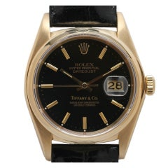 Rolex Yellow Gold Datejust with Tiffany & Co Black Dial circa 1980