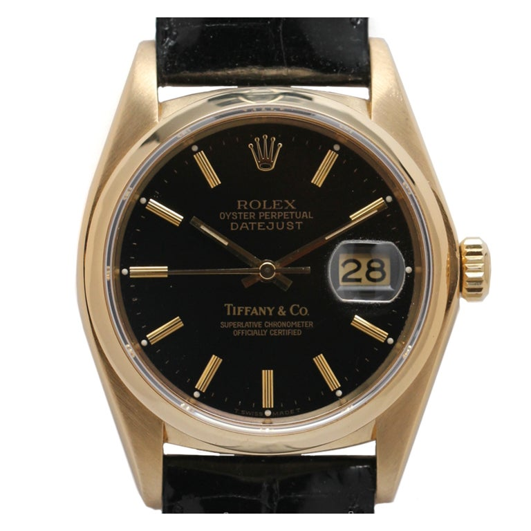 Rolex Yellow Gold Datejust With Tiffany And Co Black Dial
