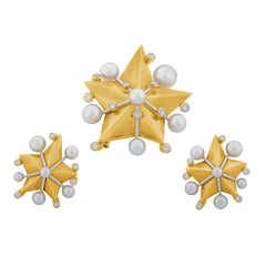 Gold Star Pearl Diamond Gold Earrings and Brooch Set by Fred Paris