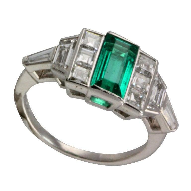 unique emerald and deco ring