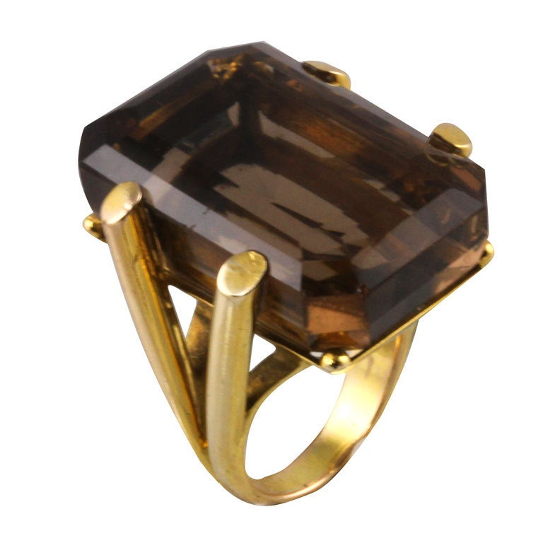Glamorous Smoky Topaz Retro Ring At 1stdibs