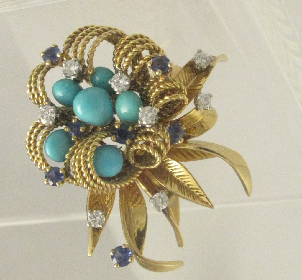 1960's French Gold and Turquoise Flower Earrings image 2