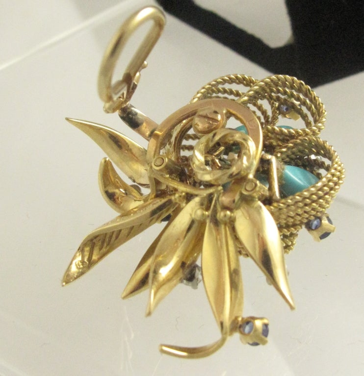 1960's French Gold and Turquoise Flower Earrings image 3