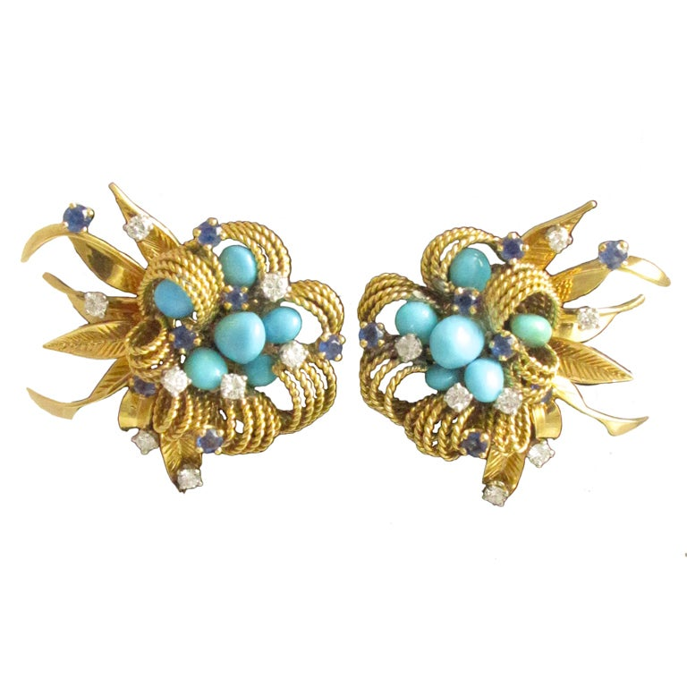 1960's French Gold and Turquoise Flower Earrings