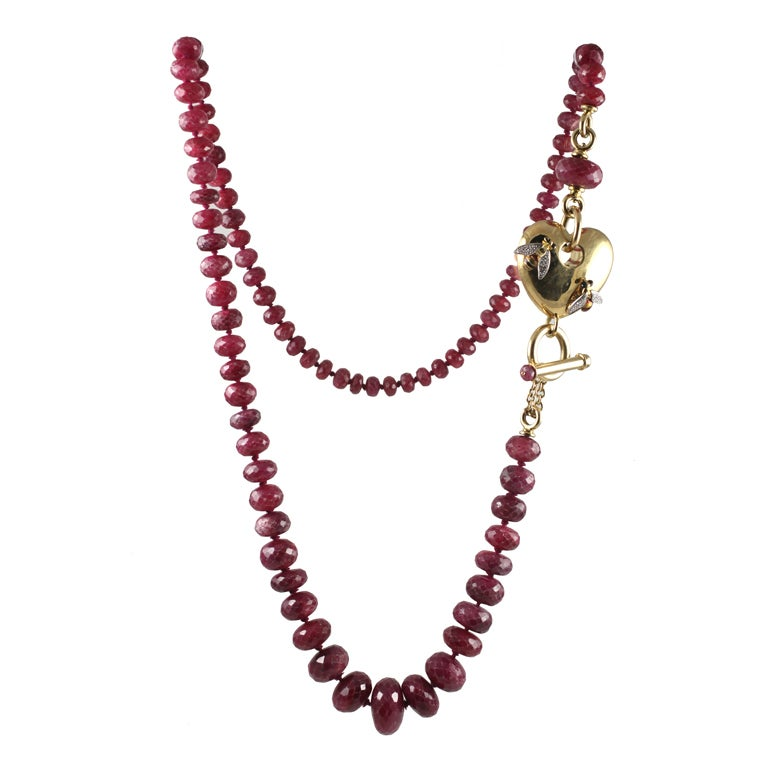 faceted ruby bead and gold necklace at 1stdibs