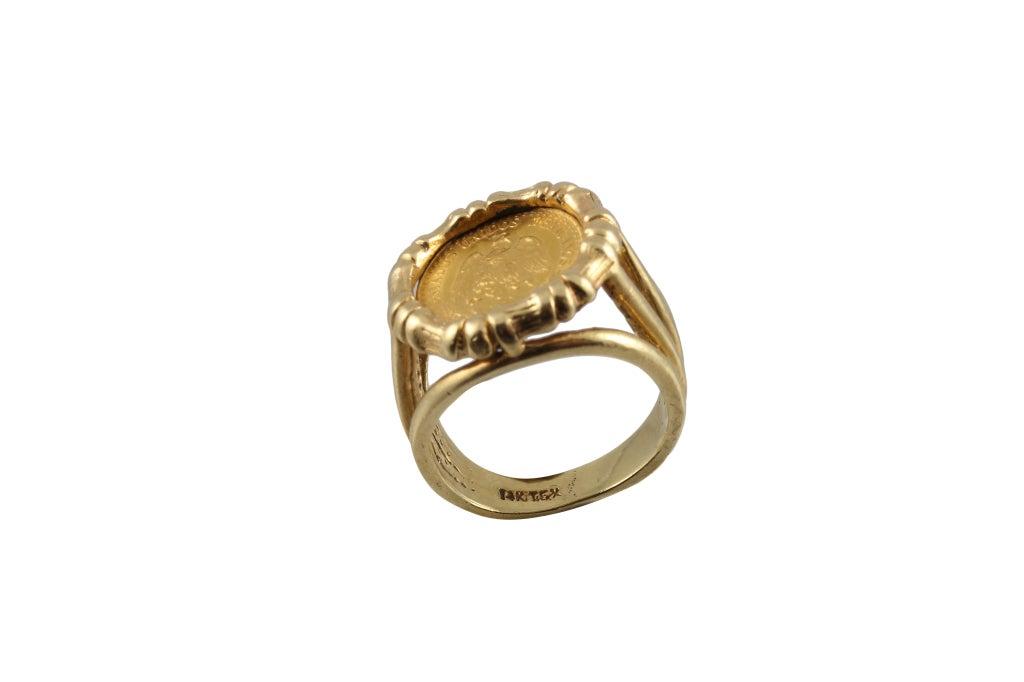 gold mexican dos pesos coin ring at 1stdibs