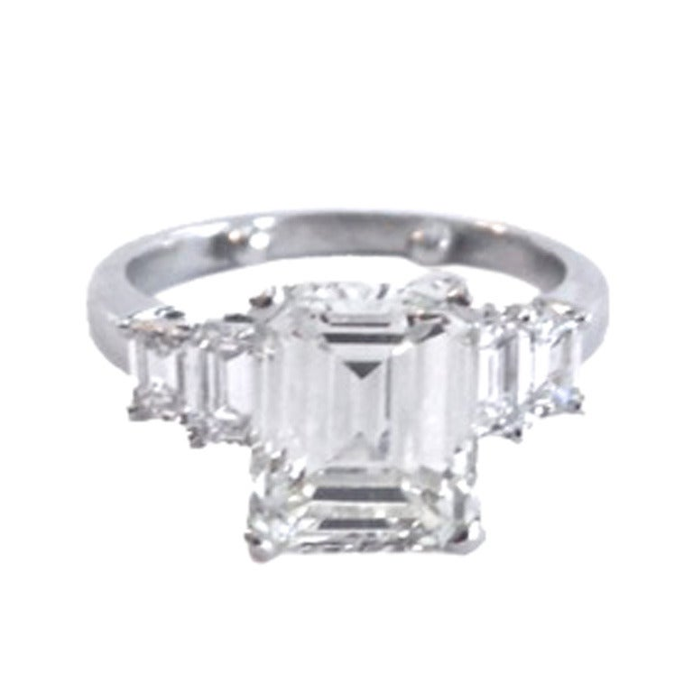 Classic 3 44 Carat Emerald Cut Diamond Ring