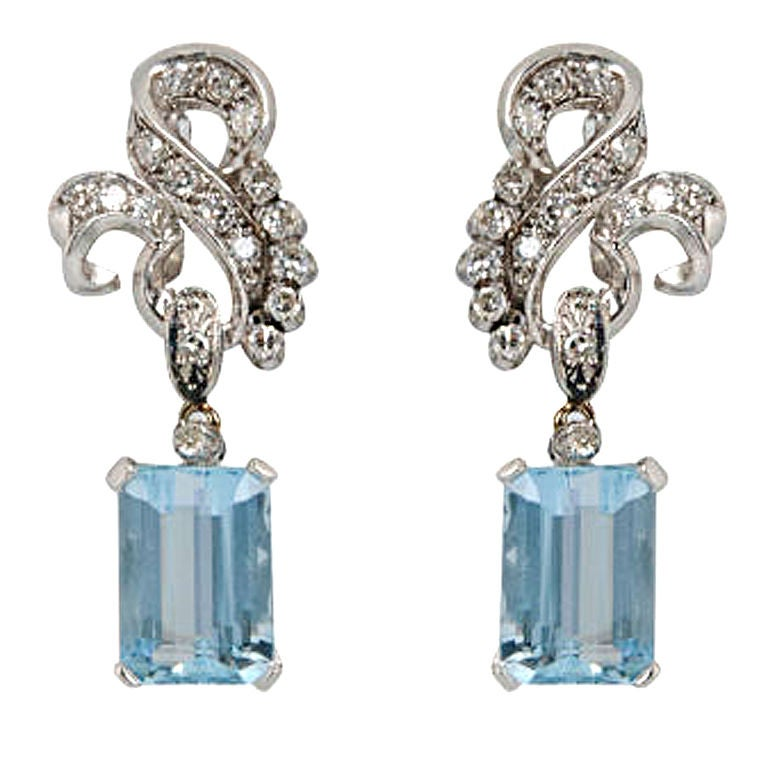 aquamarine and drop earrings at 1stdibs