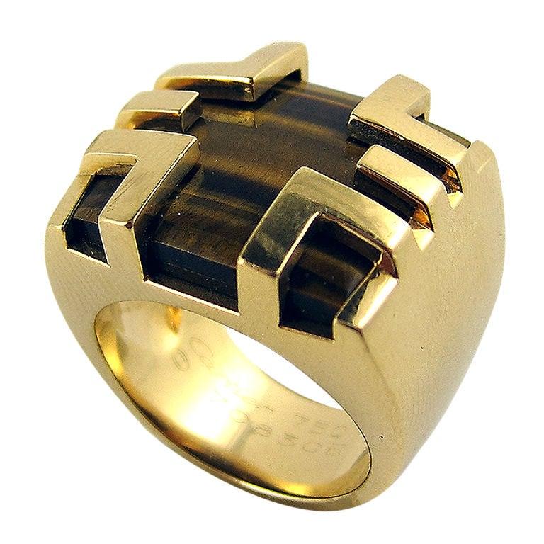 Cartier Paris Gold Tiger S Eye Ring At 1stdibs