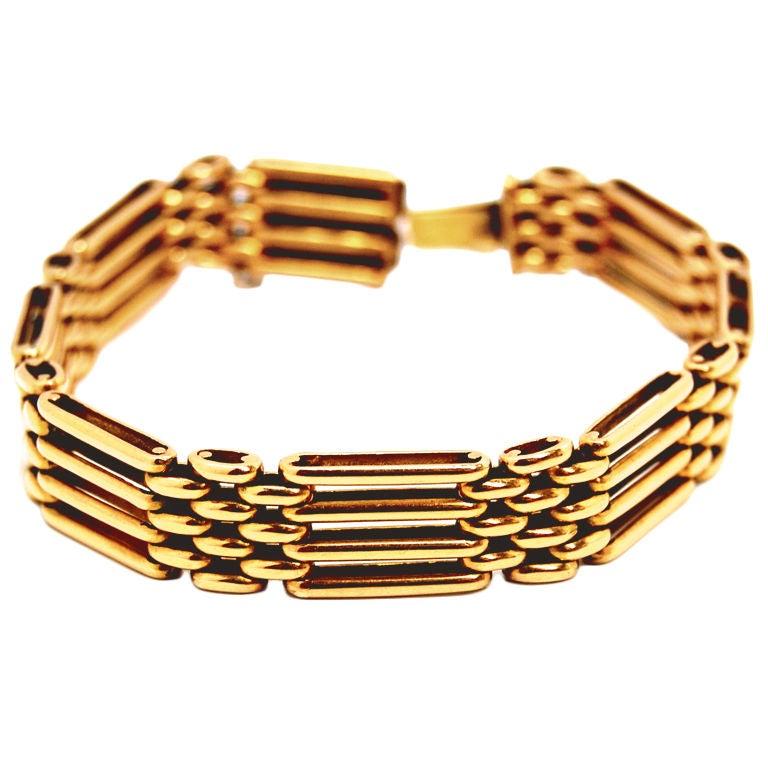 18k Yellow Gold Quot Gate Quot Bracelet At 1stdibs