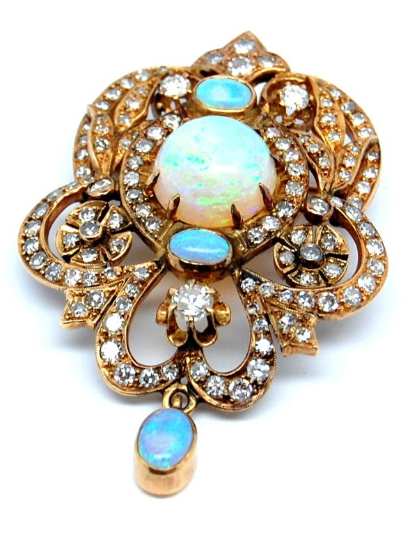 Victorian Diamond and Opal Pendant at 1stdibs