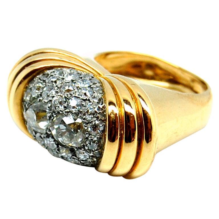 18k yellow gold and platinum ring at 1stdibs
