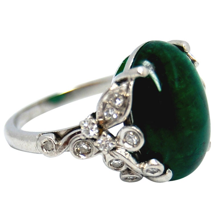 Birk S Emerald Cabochon And Diamond Platinum Ring At 1stdibs