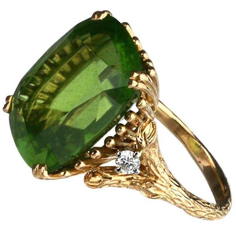 Vintage Yellow Gold Green Peridot And Diamond Ring At 1stdibs