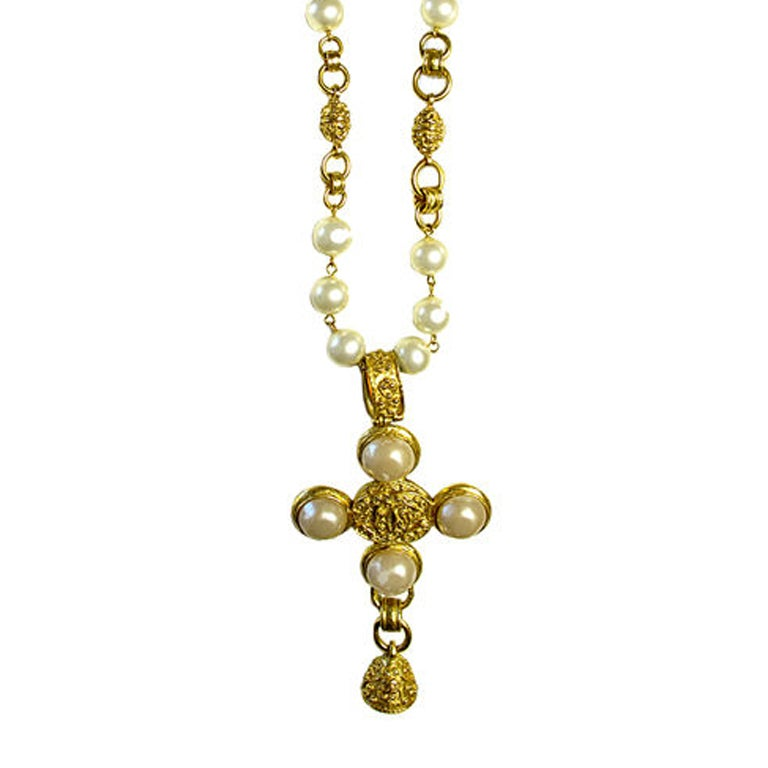 "CHANEL ""CC"" Cross Necklace With Bell"
