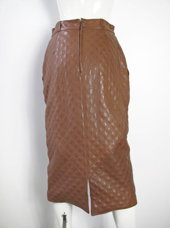 Women's Versace Quilted Leather Skirt