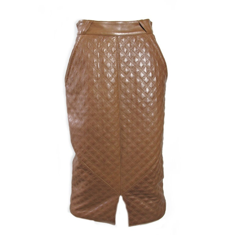 Versace Quilted Leather Skirt